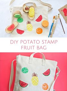 Find out out how to make this cute summer fruit bag with kids using potato stamps!
