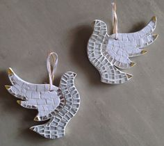 White and Gold Peace Dove Mosaic Christmas by hamptonmosaics, $40.00
