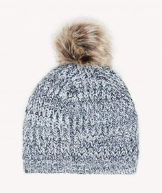 925f7baf89e88 Mixed Knit Beanie w  Faux Fur Pom Knit Beanie Hat