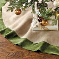Suzanne Kasler Linen and Velvet Tree Skirt | Ballard Designs
