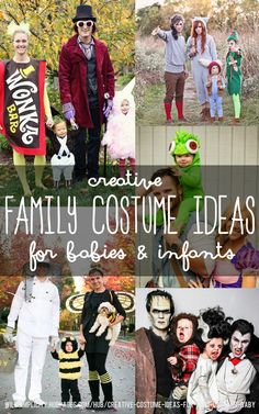 An array of budget-friendly ideas for DIY Halloween costumes for families with babies and small children.