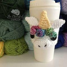 Crochet unicorn coaster ideas for 2019 Crochet Coffee Cozy, Crochet Cozy, Crochet Gifts, Coffee Cup Cozy, Coffee Scrub, Coffee Creamer, Hot Coffee, Iced Coffee, Coffee Drinks