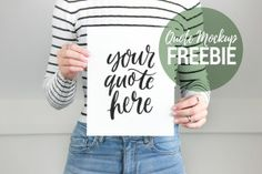 Free Girl Holding Quote Mockup Styled Stock Photo Art Mock (PSD) The best free Fashion & Apparel Mockups and Templates. A simple yet super-realistic mockup of a flat Men's t-shirt. The PSD file allows you to change the . Branding Your Business, Business Card Logo, Social Media Images, Mockup Templates, Print Templates, Design Templates, Stock Image, How To Make Logo, Free Girl