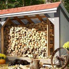 4' × 10' Woodbin recently featured in Better Homes & Gardens! With optional Autumn Red roofing, holds a cord plus of wood. Heavy 2' × 6' floor frame. Available as fully assembled firewood storage buildings, shed kits (estimated assembly time - 1 person,15 hours), or as diy shed plans ($45). #woodsheds http://www.bhg.com/home-improvement/outdoor/shed-playhouse/shed-ideas/#page=9 http://jamaicacottageshop.com/shop/woodbin-4x/ http://jamaicacottageshop.com/wp-content/uploads/pdfs/pdf4x10wb.pdf