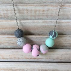 Pastel pink,mint and grey necklace, polymer clay necklace handmade by rubybluejewels by rubybluejewels on Etsy