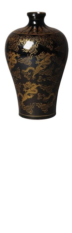 Vases, Black & Gold Chinese Dragon Vase, so beautiful, inspire your friends and followers interested in luxury interior design & gifts with more beautiful accents like this from InStyle Decor Beverly Hills, Luxury Designer Furniture, Mirrors, Lighting, Art, Accents & Gifts, over 3,500 inspirations to choose from and share with our simple one click Pinterest Pin button enjoy & happy pinning