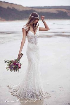 Looking for a Anna Campbell wedding dress? Don't miss this beautiful collection of embellished wedding dresses from the new Anna Campbell Spirit Collection. Wedding Dress Trumpet, Lace Wedding Dress, 2016 Wedding Dresses, Boho Wedding, Bridal Dresses, Wedding Gowns, Dresses 2016, Wedding Beach, Mermaid Wedding