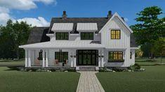 Modern Farmhouse Interiors, Modern Farmhouse Plans, Farmhouse Design, Farmhouse Architecture, Farmhouse Style Homes, Country Home Plans, Country Farmhouse Exterior, Contemporary Farmhouse Exterior, Farmhouse Addition