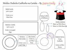 Coelho na cartola - Molde de feltro para imprimir - Feltro e Botões