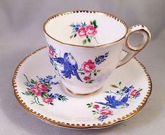 "Royal Stafford ""Blue Bird"" Demitasse Cup & Saucer Hard-to-Find Pattern! - N/R"