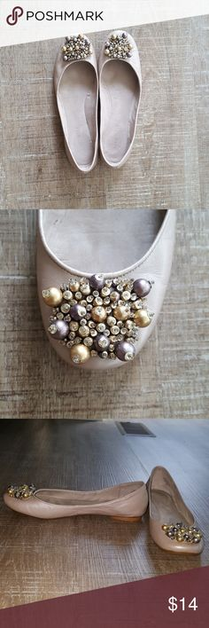 Nine West flats Lightly worn, super fun flats from Nine West. Light champagne color with gold and purple baubles. Size 6 Nine West Shoes Flats & Loafers