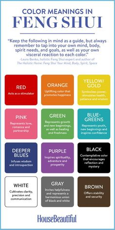 Feng Shui Color Guide. Red: Acts as a simulator. Orange: Uplifting color that promotes happiness. Yellow/Gold: Symbolizes power, stimulates health, patience and wisdom. Pink: Represents love, romance and partnership. Green: Represents growth and new beginnings, as well as healing and freshness. Blue-Greens: Represents youth, new beginnings and inspires confidence. Deep Blues: Infuses wisdom and introspection. Purple: Inspires spirituality, adventure and prosperity. Black: Contemplative color…