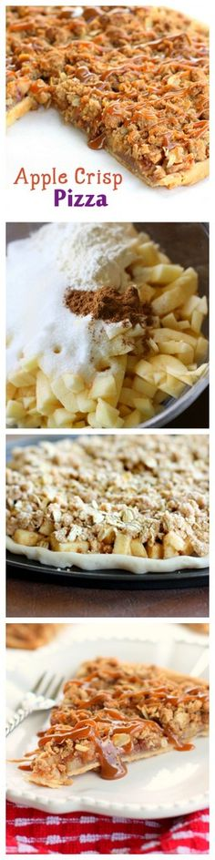 Apple Crisp Pizza - Flaky pie crust topped with cinnamon sugar apples and drizzled with caramel. {The Girl Who Ate Everything}