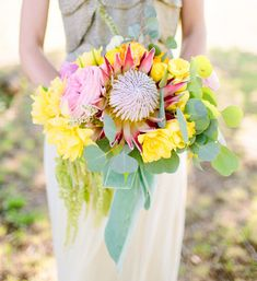 King Protea bouquet with yellow flowers