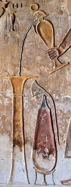 "pouring water on the altar with the ḥs-vase (topped by a falcon-head with the Solar disk). Detail from the west wall of the Bark Shrine of King Ramses II in the ""Temple of Millions of Years"" of King Ramses III at west 'Uaset'-Thebes"