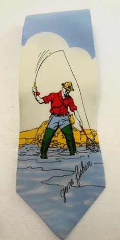 "Noel Strand Gone Fishin Fly Fishing Waders Silk Necktie 3 3/4 x 55"" Made in USA #NoelStrand #NeckTie"