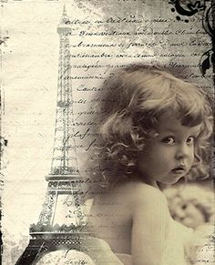 Vintage Paris and Little Girl Background