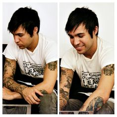 Pete showing off his tattoos (made by me)