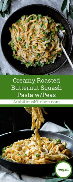 Savory Roasted Butternut Squash Pasta with sweet green peas is the ...