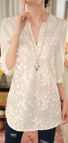 2017 New Spring Women Blouse Flower Print Blouse V-neck Organza Embroidered Shirt White Lace Blouse Top Plus Size Clothing Patterns, Dress Patterns, Fashion Wear, Fashion Dresses, Kurti With Jeans, White Lace Blouse, English Fashion, Dressed To The Nines, Cycling Outfit
