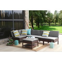 Create a peaceful haven in all 4 seasons with this vibrant sectional sofa set. The Baner Garden 6 piece complete furniture can be used for both, indoor and  use. With modern and stylish lines, this set offers comfortable and exceptionally stunning lounging. It has a modern style that enhances the look of the decor.The woven resin wicker material enhances the aesthetic appeal of the seating group. The set includes 1 corner sofa, 4 center seats and a coffee table. This easily accommodates a…