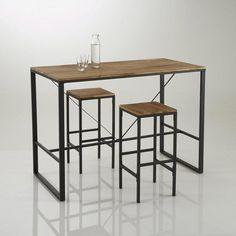 Table haute cuisine · Tabouret de bar haut, forme carrée, Hiba (lot de 2)  La Redoute c9ca89af1c76