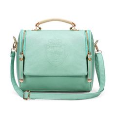 Candy color women vintage leather shoulder bag retro handbag