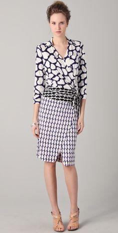 DVF mixed print wrap dress