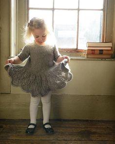 Maddie Child's Dress Knitting pattern by Kari-Helene Rane Toddler Dress Patterns, Christmas Knitting Patterns, Knit Patterns, Sewing Patterns, Baby Scarf, Dress Gloves, Red Heart Yarn, Arm Knitting, Yarn Brands