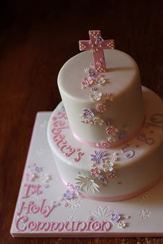 first holy communion cakes | Rebecca's 1st Holy Communion cake by Andrea's SweetCakes