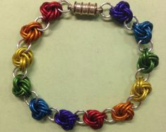LGBT pride rainbow chainmaille bracelet