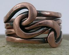 Copper Knot ring Love Knot Ring Infinity Ring Forged por LjBjewelry