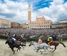 "::DISCOVER SIENA:: IL PALIO DI SIENA ""Piazza del Campo"" is still used today for the well known Palio horse race which is one of the most famous popular Italian manifestations. It takes place every year on July 2 and August 16. The Palio is run to celebrate the miraculous apparition of the Virgin Mary near the old houses that belonged to Provenzano Salvani. The holy apparition was therefore called ""Madonna di Provenzano"" in whose honour the very first Palio was run on August 16, 1656."