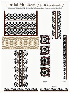 Semne Cusute: iie din nordul MOLDOVEI, Botosani Folk Embroidery, Cross Stitch Embroidery, Embroidery Patterns, Cross Stitch Patterns, Knitting Patterns, Palestinian Embroidery, Cross Stitching, Beading Patterns, Pixel Art