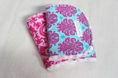 Girl Burp Cloth Set of 2 Hot Pink Damask by SugarPlumLaneBaby, $16.00