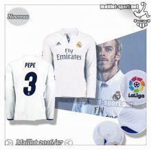 Maillots-Sport: Créer Un Maillot Foot Real Madrid Manche Longue Pepe 3 Domicile 2016 2017
