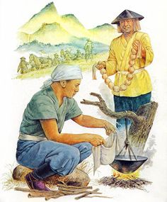 """Ashigaru cooking rice in helmet, c.1600"""