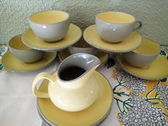 Mid Century Harkerware dinnerware Golden Dawn- 15 piece set, 5 sets cups and saucer, 2 extra saucers and 1 creamer, 2 berry bowls by MyRetroRecollections on Etsy