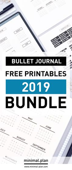 Set-up your bullet journal in no time for 2019 with this free printables bundle that includes mini calendars, year at a glance spread and various headers / Bullet journal inspiration, bullet journal 2019, minimal bullet journal, bullet journal idea, bullet journal prinatbles, free printables, bujo, bujo ideas, bujo inspiration