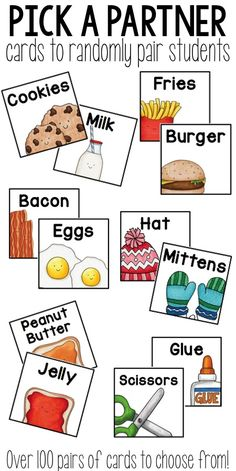 "Pick a Partner cards Choosing a partner can be a daunting task for teachers and students alike. Why not make it random? These fun cards help students ""find"" their own partner. They choose a card and search for their classmate who has the matching one! First Grade Classroom, School Classroom, Future Classroom, Classroom Ideas For Teachers, Superhero Classroom, Teaching First Grade, Student Teaching, Classroom Decor, Teacher Tools"