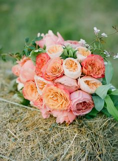 bridal bouquet in shades of peach, pink + coral // photo by Stacey Hedman, floral design by Petal Floral Design // View more: http://ruffledblog.com/romantic-marthas-vineyard-wedding/
