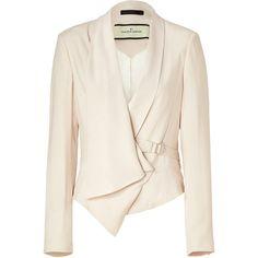 BY MALENE BIRGER Pearl Amiri Wrap Blazer ($315) ❤ liked on Polyvore featuring outerwear, jackets, blazers, coats, tops, blazer jacket, faux-leather jacket, white tux jacket, white blazer jacket and cream blazer