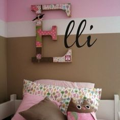 """Ideas for Z's room. Put fabric or scrapbook paper on big letter """"Z"""""""