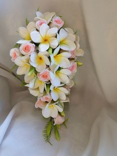 Frangipani Plumeria Teardrop Bouquet Posy Real by Abloomortwo