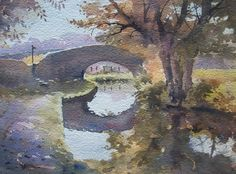 Bridge on the Brecon Canal Watercolour Watercolor City, Watercolor Artists, Watercolor Paintings, Watercolours, Urban Life, Mural Painting, Three Dimensional, Greenery, Fashion Art