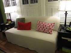 How to make a drop cloth slip cover for a couch.