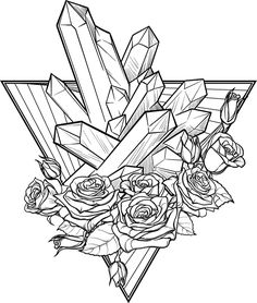 Black and White Flower Crystal Prisms Geometric Art Icon - Triangle Vinyl Sticker Tall) Art Drawings Sketches, Cute Drawings, Colouring Pages, Coloring Books, Crystal Drawing, Crystal Tattoo, Symbol Tattoos, Wall Stickers Murals, Art Icon