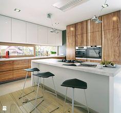 Modern home by Architects: K .Borowski and P. Interior Architecture, Interior Design, Scandinavian Kitchen, Kitchen Design, House Plans, New Homes, Kitchen Cabinets, Floor Plans, Modern