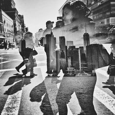 Beautiful double exposure of the NY skyline and people in NY by Afton Almaraz…