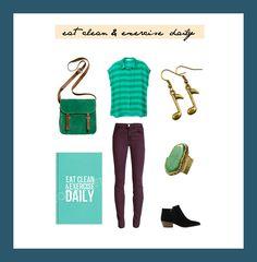 #clothes #green #set #taki trik #gold  eat clean & exercise daily / by Taki Trik